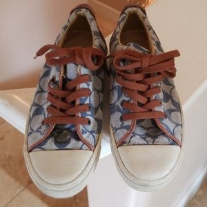 Cool Coach Logo Blue Brown HipTennies Shoes 7/7.5